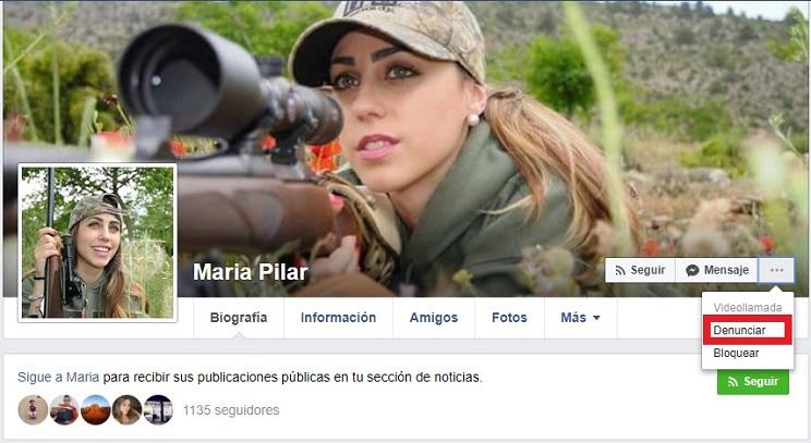 La joven cazadora Mª Pilar Sánchez, suplantada en un perfil de Facebook