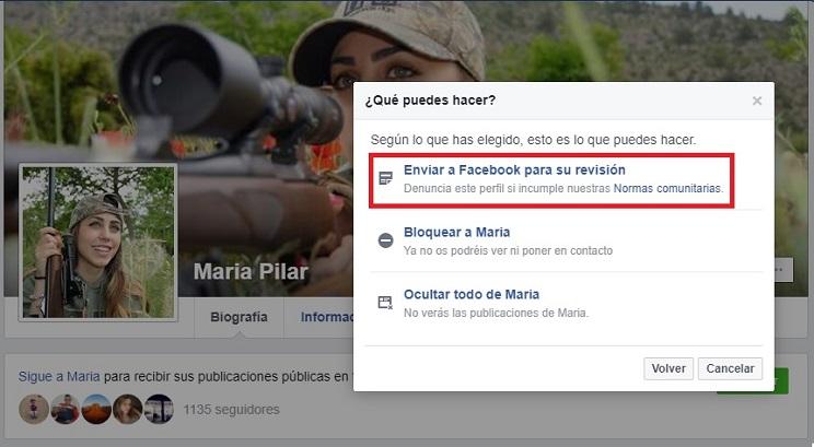 Captura de pantalla de cómo denunciar un perfil falso / Fotografía: Jara y Sedal