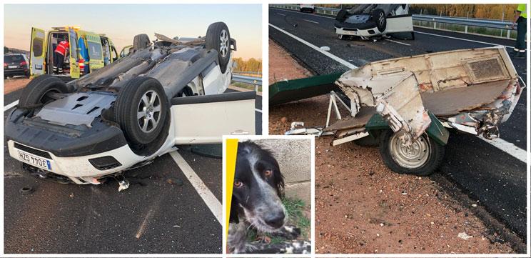Un cazador sufre un grave accidente de coche y pierde a su perra tras salir despedida