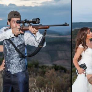Una pareja de novios lleva su pasión por la caza al altar: así es su original álbum de bodas