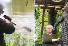 anciana caza caiman