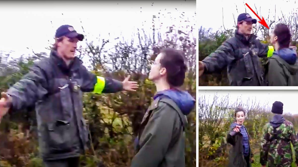 Una animalista escupe en la cara a un cazador, que aguanta paciente la agresión