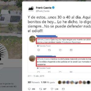Animalistas piden boicotear a Frank Cuesta y desean la muerte de sus hijos