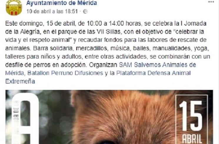 El Ayuntamiento de Mérida apoya una contramanifestación anticaza el 15-A