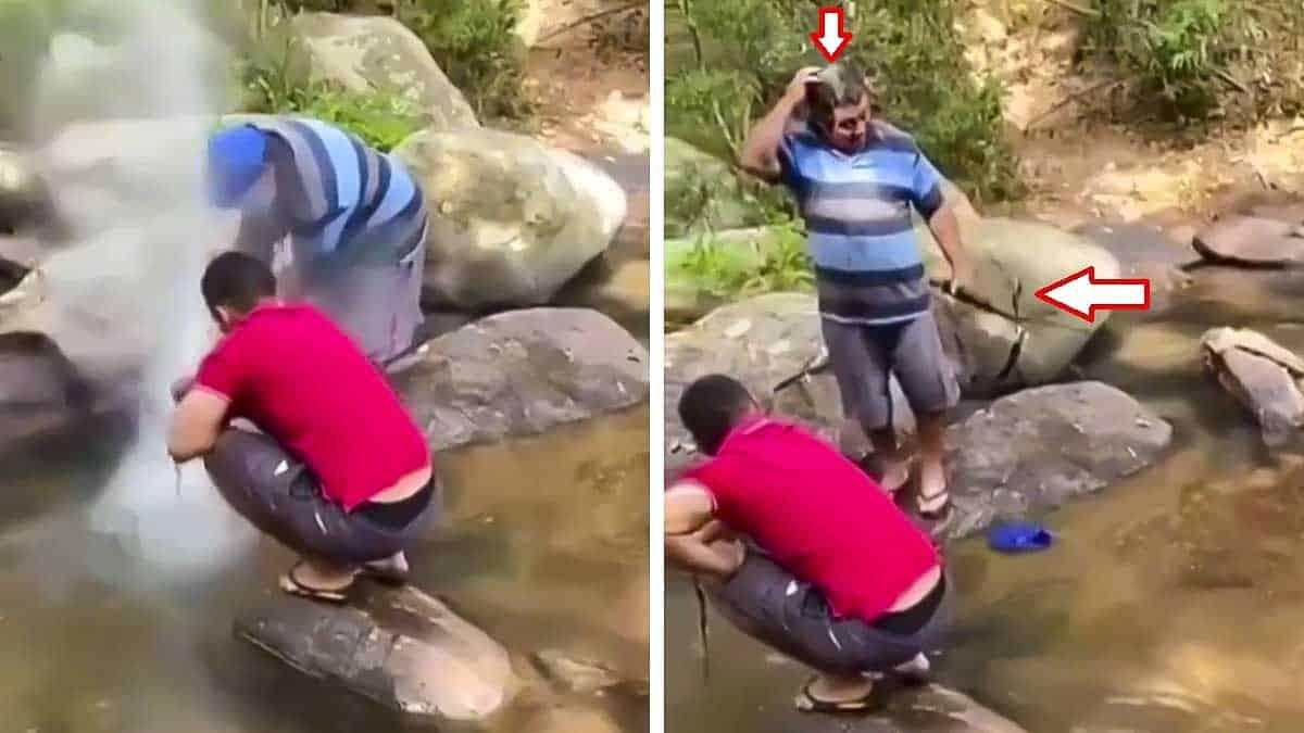 Tremenda imprudencia: apunta a un pez bajo el agua y aprieta el gatillo