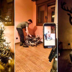 Así se hace un árbol de Navidad con cuernas de ciervo
