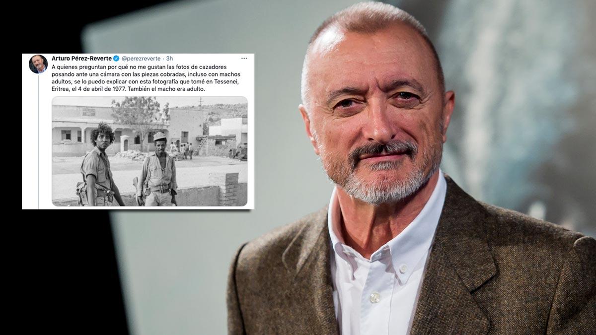 Arturo Pérez-Reverte y su tuit comparando la foto de guerra con la de caza. © Getty Images y Twitter
