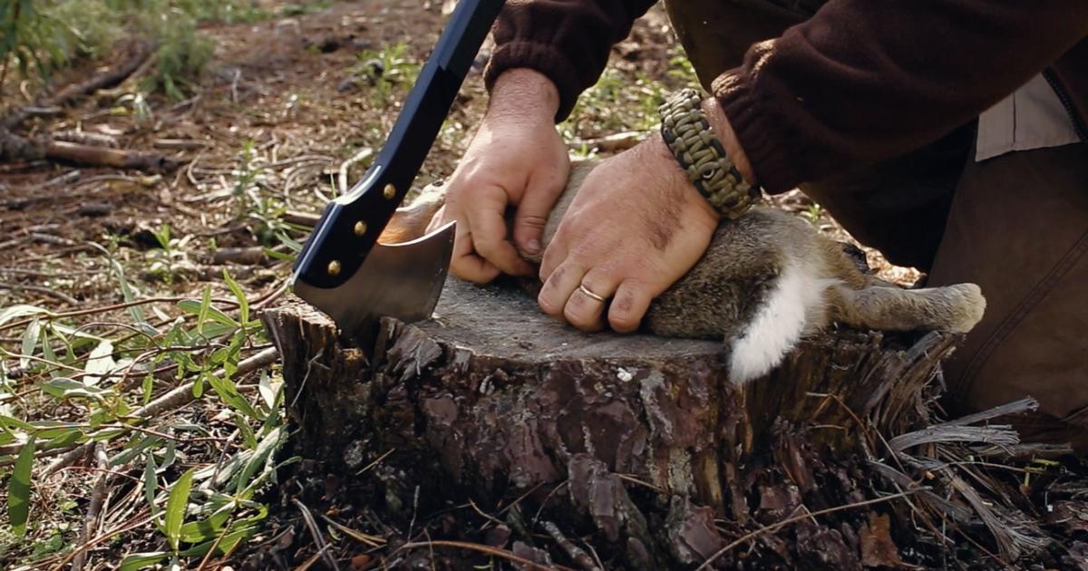 Supervivencia c mo cocinar en el campo usando un hacha for Cocinar un conejo