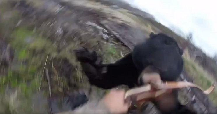 Un arquero es atacado por un oso mientras cazaba