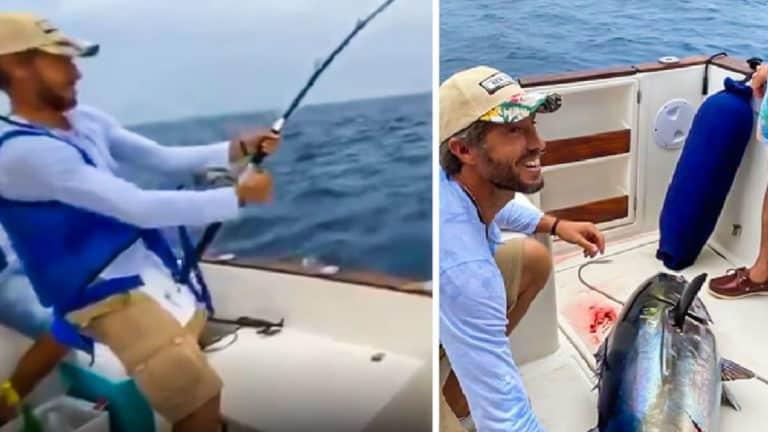 Dos momentos de la pesca del atún por parte del torero. © Instagram