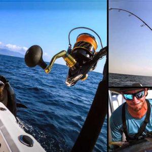 Graba cómo pesca a 'popping' un atún tan grande que apenas puede subirlo al barco en el Delta del Ebro