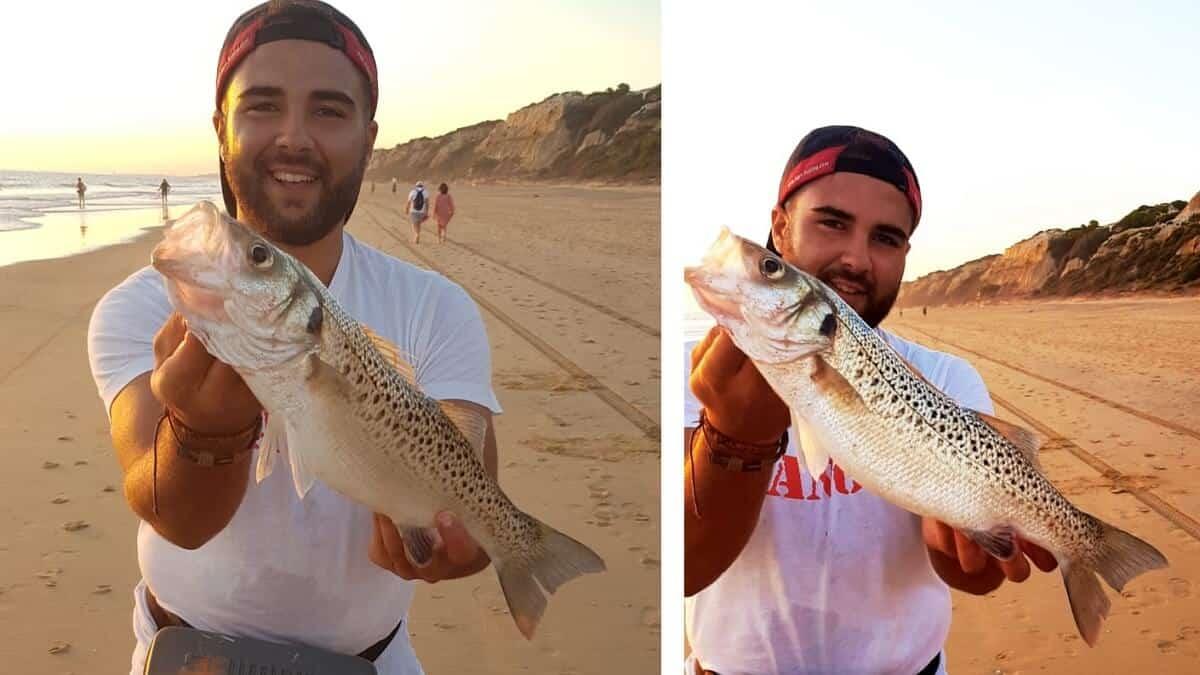 Pesca una baila de casi kilo y medio en Huelva
