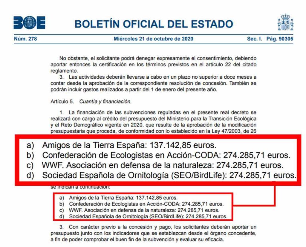 BOE en el que se especifica la cuantía del dinero público recibido por los ecologistas.