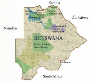 Mapa de Botswana/ lodgesofbotswana.com