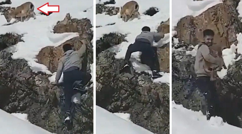 Trepa por un risco y 'caza' una cabra salvaje con sus propias manos