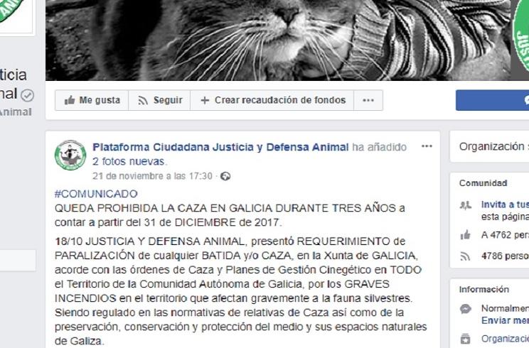Es falso que la caza en Galicia esté prohibida