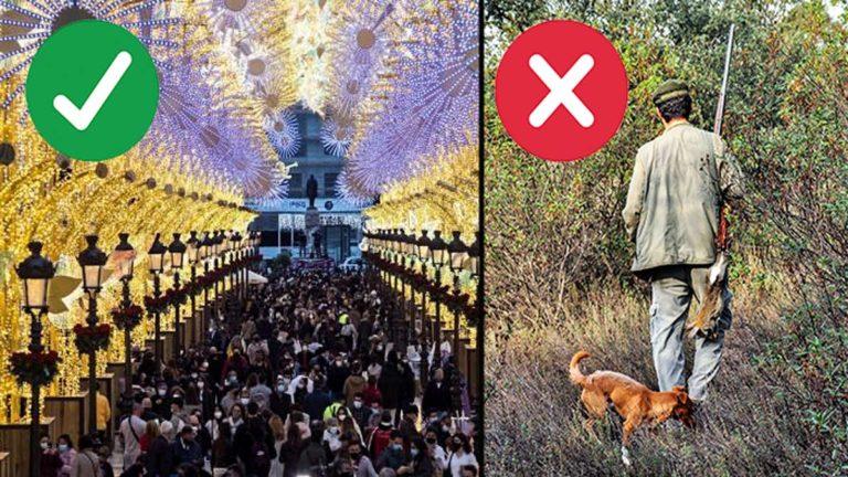 El contraste de las dos imágenes (calle masificada de gente y cazador de menor en solitario) habla por sí solo. © JDG