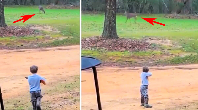Un niño 'rececha' un ciervo con su juguete, el emotivo vídeo de un futuro cazador