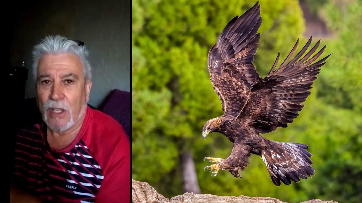 El cazador Jesús Mirón, y un águila. /Shutterstock