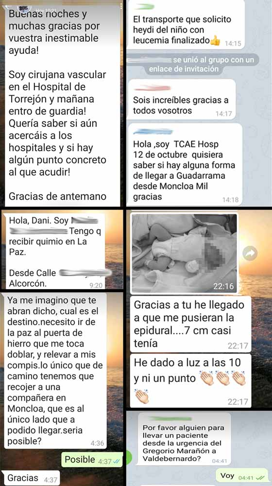 Algunos mensajes de móvil de las 53 personas que atendió. ©JyS