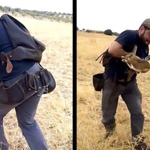 Un cazador 'muestra' y se lanza a por una liebre con la mano
