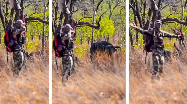 Los nervios de acero de este cazador en una situación comprometida asombran a las redes