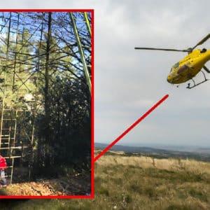 Un cazador cae al vacío desde una palomera y tiene que ser rescatado en helicóptero