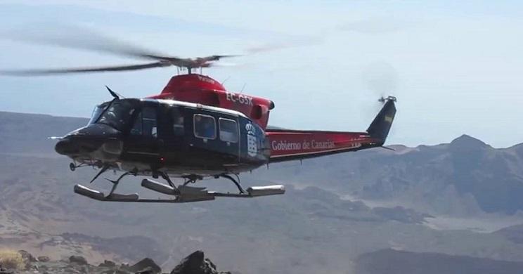 cazador rescatado en helicoptero