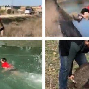 Un cazador se juega la vida y salva a un corzo en un canal
