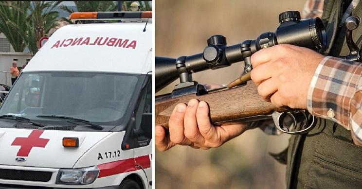 cazador se dispara en el pecho durante una espera