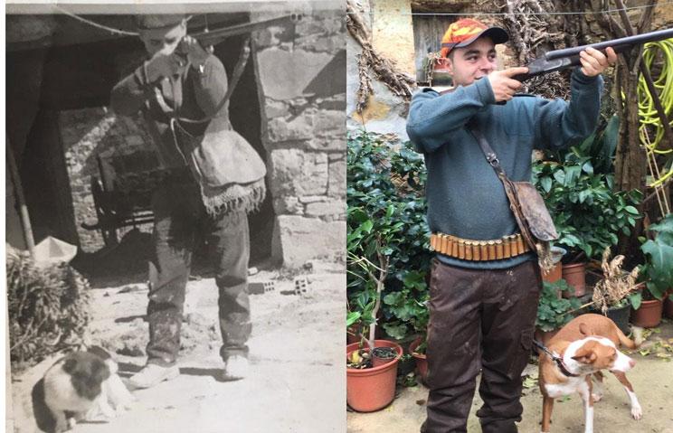 Abuelo y nieto, con la antigua y nueva foto con la misma escopeta y morral. / JyS