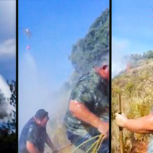 Un helicóptero antiincendios arroja su carga sobre 70 cazadores que luchaban contra el fuego en Sevilla