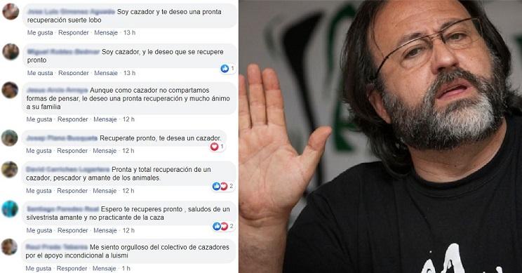Algunos de los comentarios dando ánimos a Domínguez. / Facebook