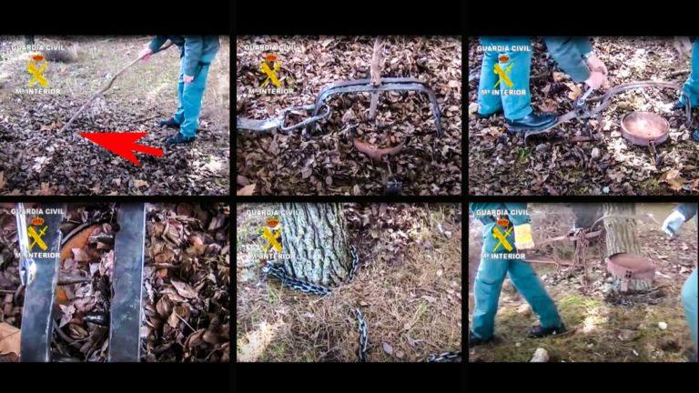 Varias imágenes del enorme cepo. © YouTube