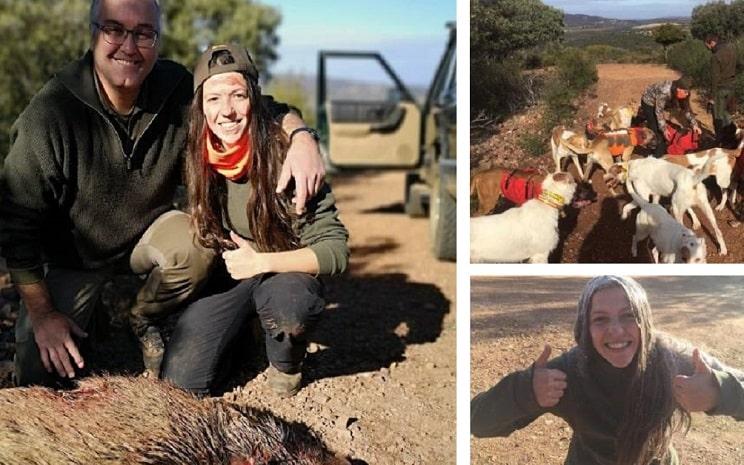 Esta chica caza su primer jabalí junto a su suegro y los alanos de su novio
