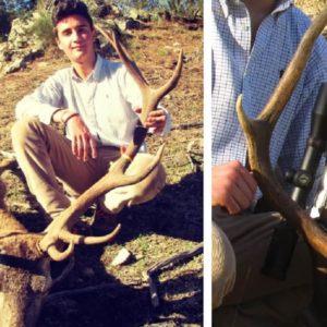 Este joven cazador se estrena en montería con un extraño ciervo de tres cuernas