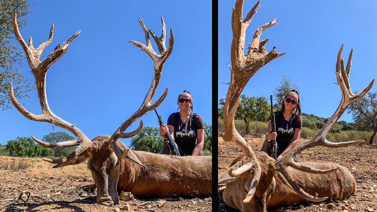 Esta joven caza un monstruoso ciervo de 18 puntas y 200 puntos en Cáceres