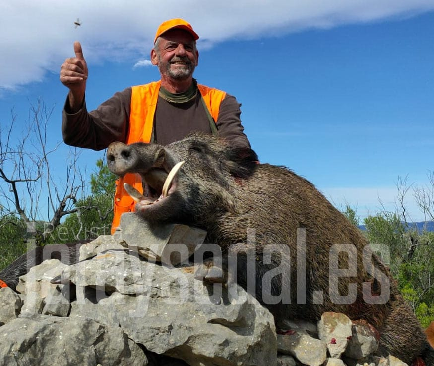 El cazador con el sorprendente jabalí. @JyS