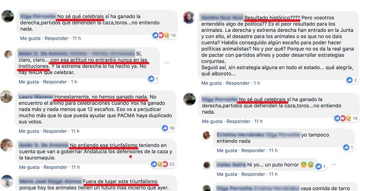 El desánimo y las críticas estallan en PACMA tras su derrota en Andalucía