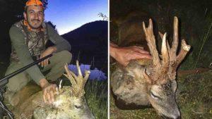 Caza un corzo enfermo con una cuerna asombrosa: «Ha venido media comarca a verlo a casa»