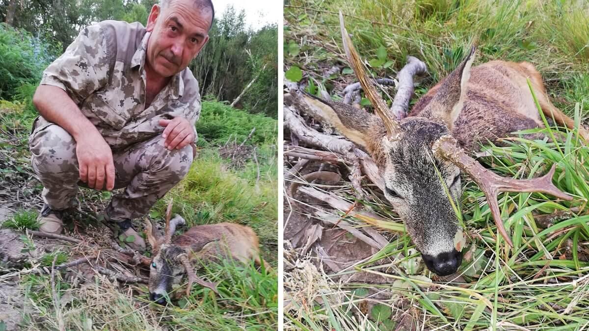 Su nieto le 'obliga' a ir de caza y termina abatiendo este extraño corzo