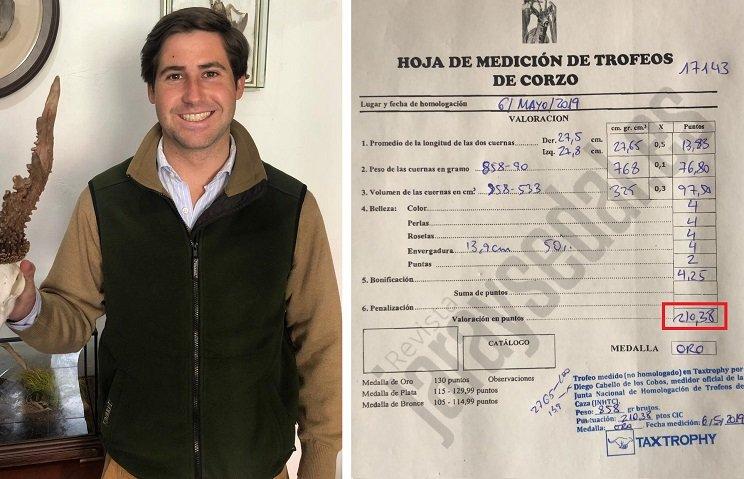 Caza un descomunal corzo que se colocará entre los 10 mejores de España