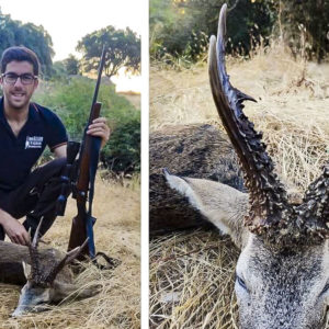 Falla dos veces y caza a la tercera el primer corzo en la historia de su coto