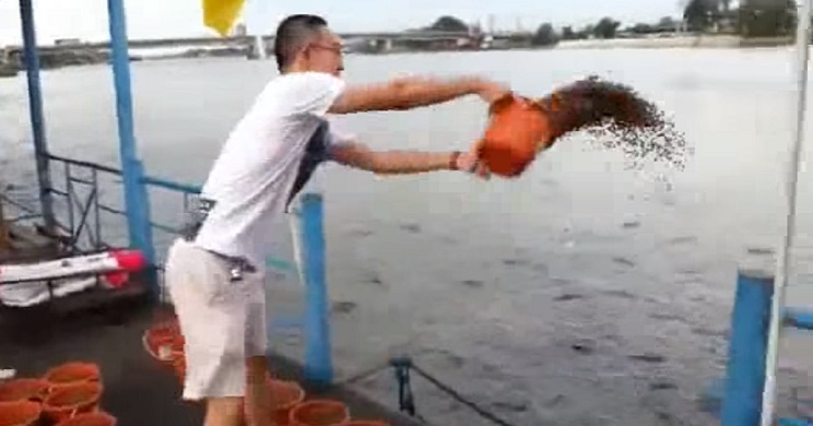 Este tipo decide echar al agua más de veinte cubos de comida para peces