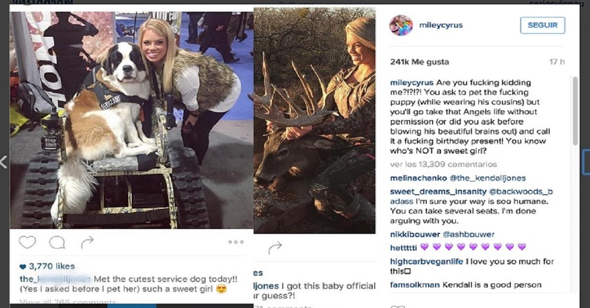 Miley Cyrus ataca a Kendall Jones por ser cazadora