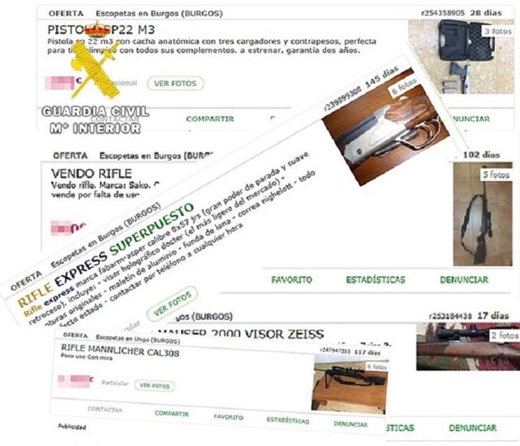 La Guardia Civil denuncia a cinco personas por publicitar la venta de armas en Internet