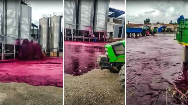 Imágenes del depósito de vino reventando. @YouTube