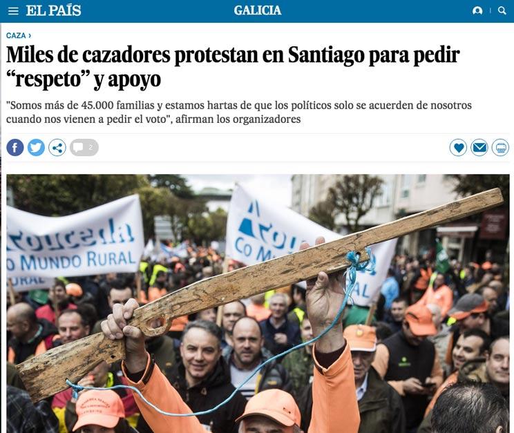 El País publica que los cazadores llevaron armas a la protesta de Santiago