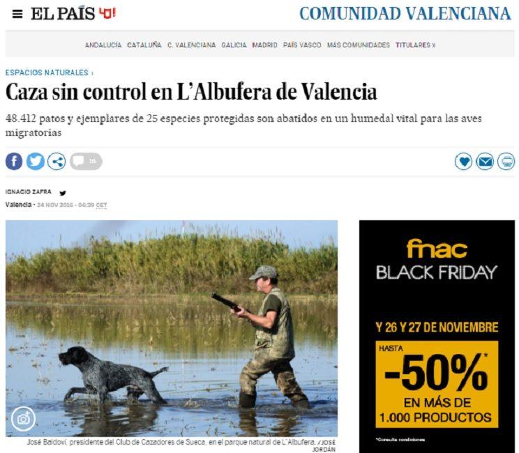 El diario El País criminaliza a los cazadores de L'Albufera acusándolos de furtivos