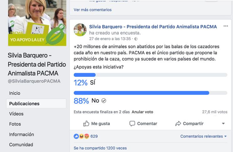 El 90% de los usuarios, a favor de la caza según una encuesta de PACMA